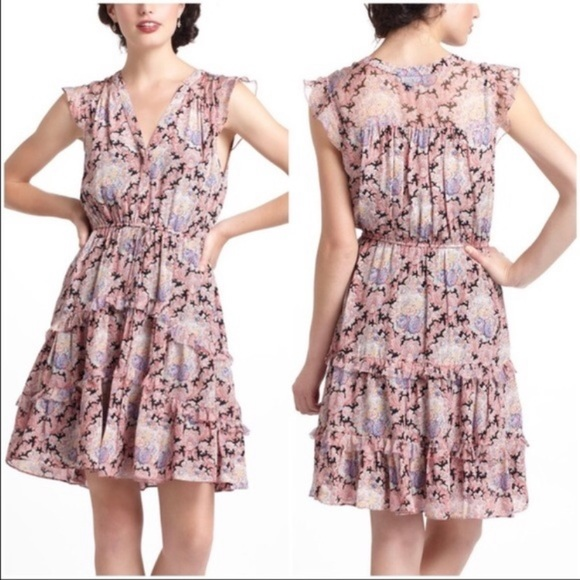 Anthropologie Dresses & Skirts - Anthropologie Lil Pink Paisley Silk Dress Size 12